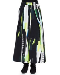 Kenzo Collage Pattern A Line Maxi Skirt Size 34 Dark Khaki