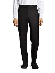 Zanella Devon Flat Front Virgin Wool Pants Dark Brown