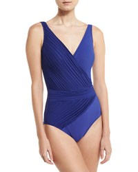Gottex Pearl Goddess V Neck One Piece Swimsuit Sapphire