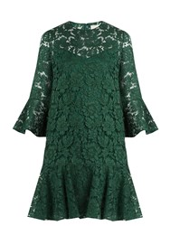 Valentino Fluted Sleeve And Hem Cotton Blend Lace Dress Dark Green