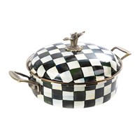 Mackenzie Childs Courtly Check Enamel Casserole Dish Black And White