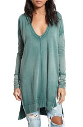 Free People Women's 'Queen Of Hearts' Hooded Tunic Turquoise