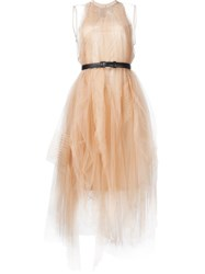 Vera Wang Belted Tulle Dress Nude And Neutrals