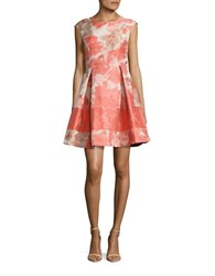 Vince Camuto Jacquard Fit And Flare Dress Coral