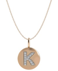 Macy's 14K Rose Gold Necklace Diamond Accent Letter K Disk Pendant