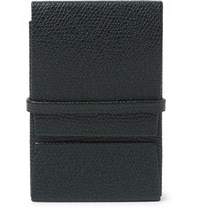 Valextra Pebble Grain Leather Business Card Holder Green