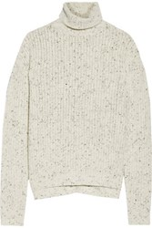 J Brand Fernwood Faux Leather Trimmed Wool Blend Turtleneck Sweater White
