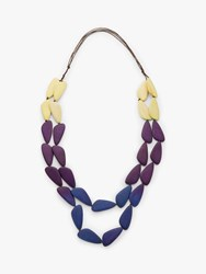 One Button Layered Wood Bead Necklace Navy Mix