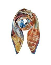 Vivienne Westwood And Andreas Print Twill Silk Square Scarf Burgundy