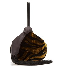 Hillier Bartley Lantern Tasseled Zebra Print Velvet Clutch Black Gold