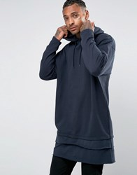 Asos Extreme Oversized Super Longline Hoodie With T Shirt Hem Navy