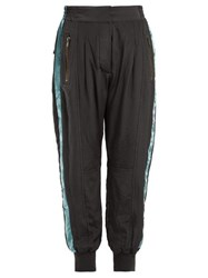 Haider Ackermann Sophora Velvet Trimmed Silk Charmeuse Track Pants Dark Grey