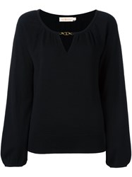 Tory Burch Keyhole Detail Blouse Black