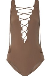 Karla Colletto Entwined Lace Up Swimsuit Mushroom