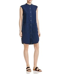 Eileen Fisher Mandarin Collar Denim Dress Midnight