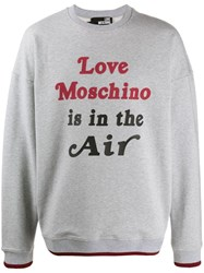 Love Moschino Printed 'Love Is In The Air' Sweatshirt Grey