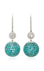 Martin Katz Paraiba Tourmaline Pave Disco Ball Earrings Blue