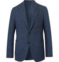 Lardini Navy Slim Fit Prince Of Wales Checked Cotton And Linen Blend Blazer Navy