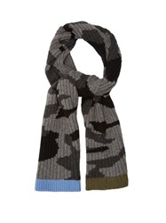 Valentino Camouflage Print Ribbed Knit Scarf Grey Multi