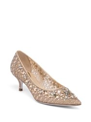 Rene Caovilla Swarovski Crystal Embellished Lace Kitten Heel Pumps Gold