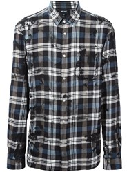 Just Cavalli Plaid Button Down Shirt Blue