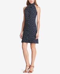 American Living Dot Print Mock Neck Dress Navy White