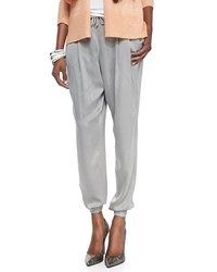 Eileen Fisher Silk Charmeuse Ankle Pants Stone Grey Petite Women's