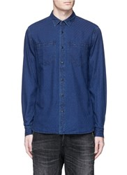 Denham Jeans Edged' Check Jacquard Denim Shirt Blue