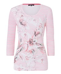 Olsen Stripes And Flower Print T Shirt Pink
