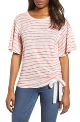 Wit And Wisdom Ruched Side Ribbon Tee Strawberry Cream