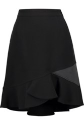 Emilio Pucci Satin Trimmed Textured Wool Blend Mini Skirt Black