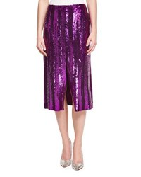 Nina Ricci Sequin Striped Midi Skirt Purple