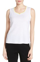 Ming Wang Women's Contrast Sweetheart Neck Knit Tank