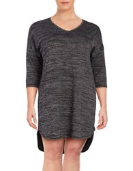 Lord And Taylor Plus Textured Knit Nightshirt Black