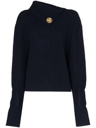 J.W.Anderson Jw Anderson Foldover Neck Ribbed Sweater Blue