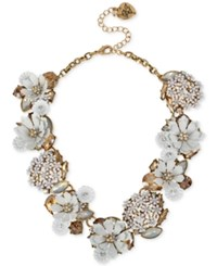 Betsey Johnson Gold Tone Crystal Flower Bouquet Statement Necklace