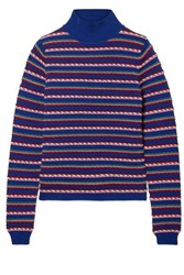 Rosie Assoulin Striped Wool Turtleneck Sweater Blue