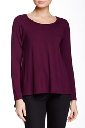 Lelis Long Sleeve Chiffon Print Back Tee Purple