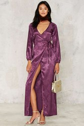 After Party By Nasty Gal Dahlia Jacquard Wrap Dress Purple