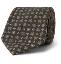 Drakes 8Cm Wool Jacquard Tie Brown