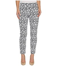 Krazy Larry Pull On Ankle Pants White Black Circles Print Women's Dress Pants Gray
