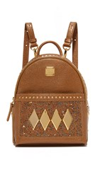 Mcm Crystal Baby Backpack Gold