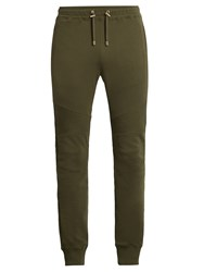 Balmain Biker Cotton Track Pants Green