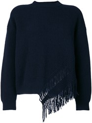 Stella Mccartney Knit Fringed Top Women Cashmere Wool 38 Blue
