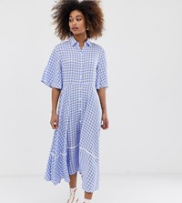 Sister Jane Exclusive Button Through Midi Shirt Dress With Full Skirt Blue