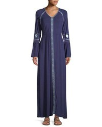 Neiman Marcus Bell Sleeve Embroidered Maxi Dress Navy