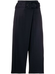 Eudon Choi Belted Wide Leg Trousers Blue