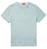 Isaia Pace Dyed Knitted Linen And Cotton Blend T Hirt Gray Green