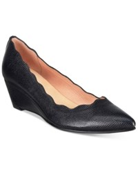 French Sole Fs Ny Terrazzo Pointed Toe Wedge Pumps Women's Shoes Black