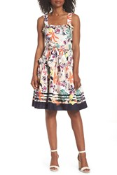Vince Camuto Floral Tie Waist Fit And Flare Dress Navy Multi